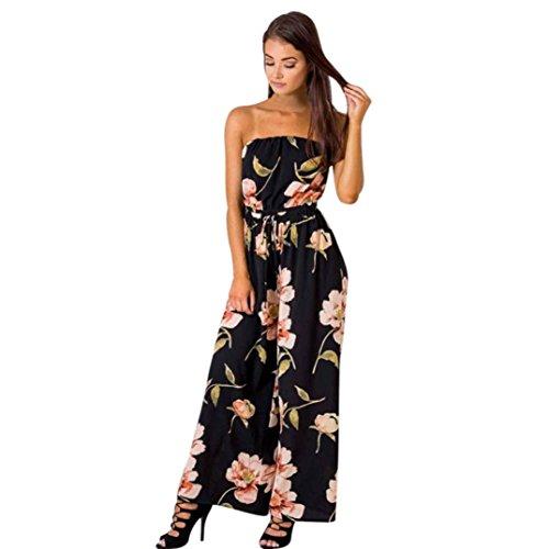 Auwer Hot Sale Jumpsuit! US Women Off Shoulder Floral Playsuit Ladies Summer Loose Romper Long Jumpsuit Trouser Sashes Decoration (L, Black)