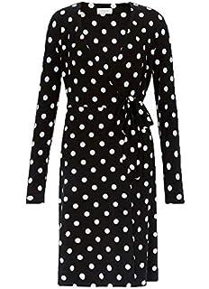 ex-branded Monochrome Polka Dot Spot Fit /& Flare Tie Sleeve Dress