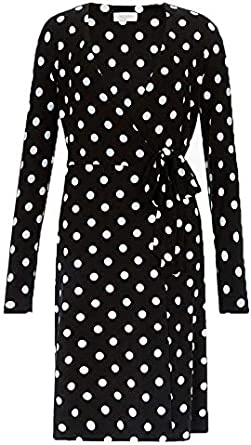 Ex Hobbs Delilah Black Polka Dot Wrap Dress