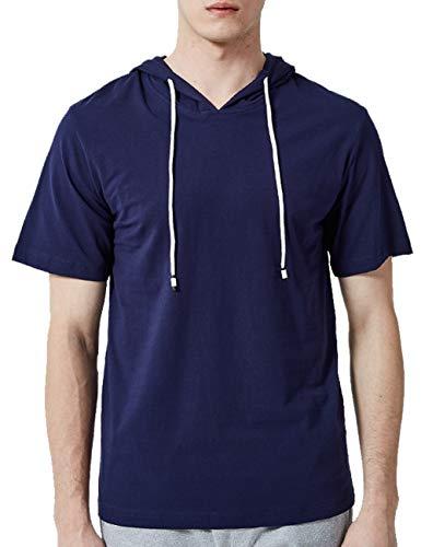 Men's Classic Contrast Raglan Sleeve Lightweight Hooded Sweatshirt,Blue-L