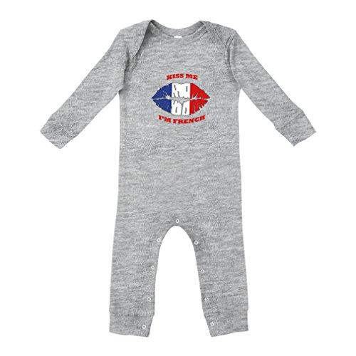 Kiss Me I'm French France Flag Cotton Long Sleeve Envelope Neck Unisex Baby Legged Long Rib Coverall Bodysuit - Oxford Gray, 18 Months ()