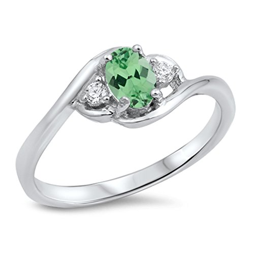 925 Sterling Silver Faceted Natural Genuine Green Emerald Oval Cluster Ring Size 6 - Oval Cluster Ring