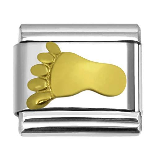 - SilverAndJewelry Gold-Tone Footprint Italian Charm Stainless Steel Bracelet Link