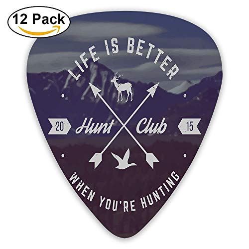 Grunge Hunt Club Emblem With Arrows Motivating Quote Mountains Guitar Picks 12/Pack