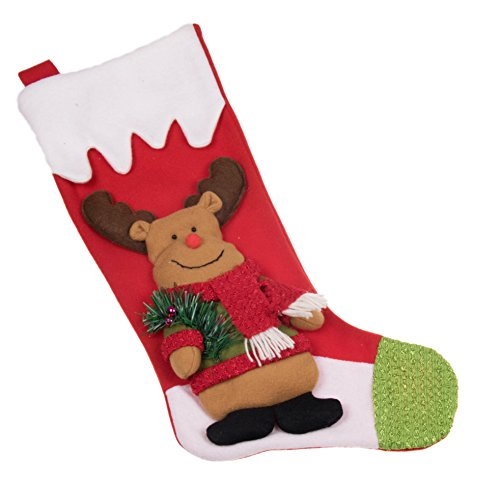 Plush Moose with Sweater Christmas Stocking - 19.5