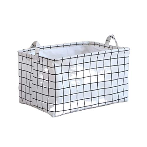 Fan-Ling Waterproof Canvas Sheets Laundry Clothes Laundry Basket Storage Basket Folding Storage Box,Waterproof Storage Basket for Storing Parts, Stationery, Crafts, Jewelery (White) (Rack Sorting Laundry)