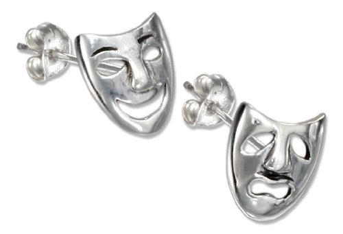 (Sterling Silver Comedy and Tragedy Mask Earrings)