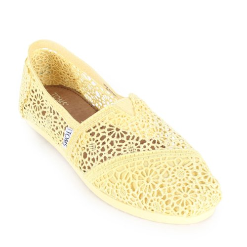 TOMS Women's Classics Crochet Shoe Lemon Size 7.5 B(M) US