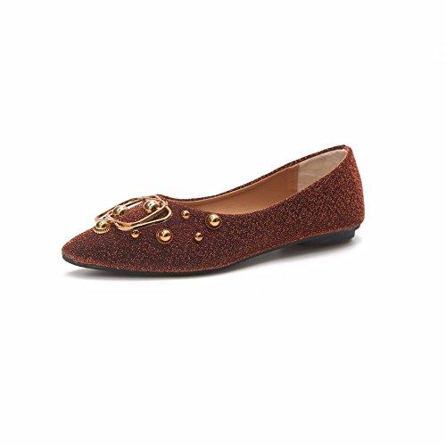YUCH Solo Zapatos De Mujeres Consejos Boca Superficial Plana Guisantes Casual Zapatos jiaofk