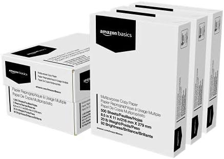 Amazon Basics Multipurpose Copy Printer Paper – White, 8.5 x 11 Inches, 3 Ream Case (1,500 Sheets)
