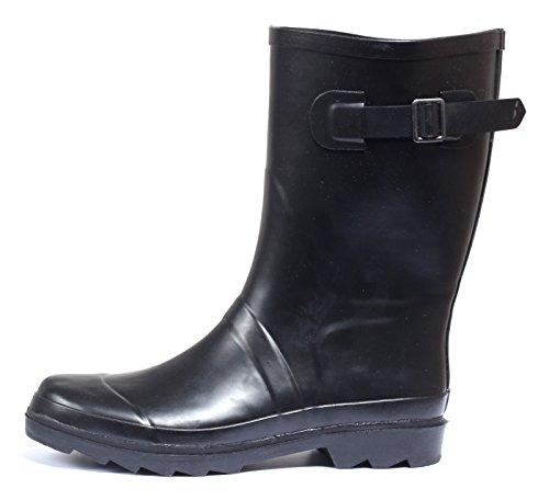 Regenstiefel Gummistiefel Wellington Stiefel Rain Boots im BIKER BOOT Style SCHWARZ Gr.37-40 Schwarz