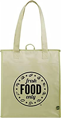 Eco-Friendly Thermal Large Insulated Grocery Bag - Authentic Non-woven Reusable & Insulating Tote - Keeps Goods Cool & Warm - Everyday Life - With Front Pocket & Fabric Loop ...