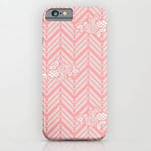 Society6 - Coral Pink Chevron Floral iPhone 6 Case by BeautifulHomes