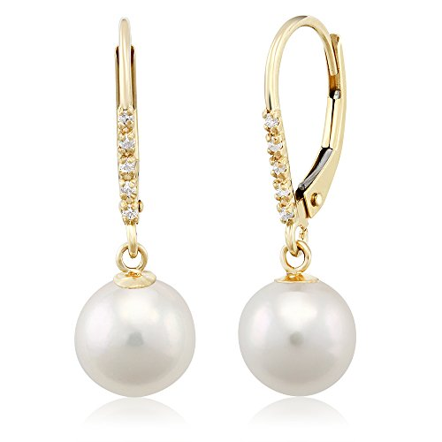 (Gem Stone King 14K Yellow Gold Diamond Accent Pearl Cultured Akoya Earrings Set )