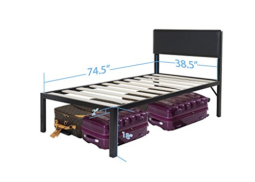 Olee Sleep Heavy Duty 18 Inch Tall Bed Frame with Headboard Platform Bed 4000HB 18BF11 (Twin - 18 inch tall)