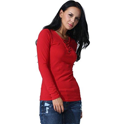 ZKOO Mujer Vendaje Cuello V Jersey Suéter Manga Larga Cuello Redondo Prendas De Punto Pullover Camiseta Tops Otoño Rojo2