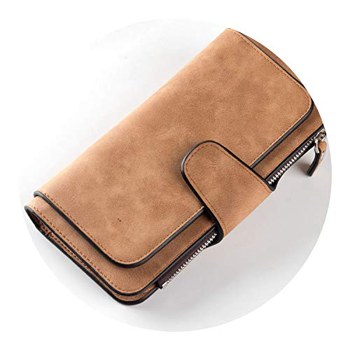 pursuit-of-self Wallet Women Scrub Leather Lady Purses Ladies Clutch Wallet,Brown