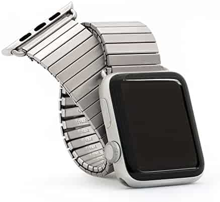 Twist-O-Flex Brushed Stainless Steel Expansion Band for the 42mm Apple Watch - Made by Speidel