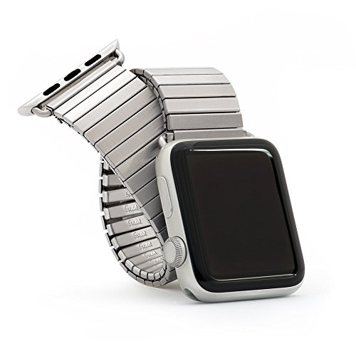Twist-O-Flex 42mm / 44mm Metal Expansion Brushed Stainless Steel Stretch Watchband Replacement for The Apple Watch Series 1, 2, 3, and 4 in a Size L/XL by Speidel