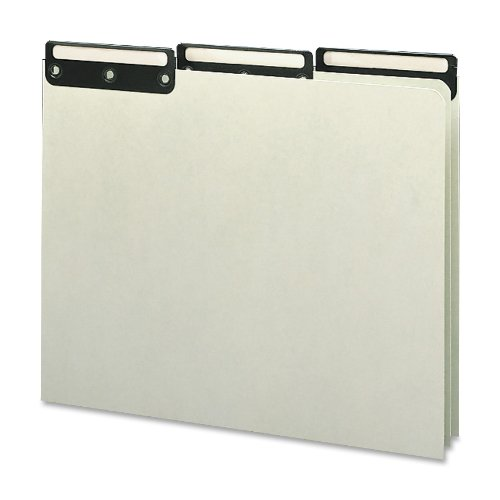 Pressboard Tab Cut Metal File (Smead 100% Recycled Pressboard File Guides, Flat Metal 1/3-Cut Tab with Insert (Blank), Letter Size, Gray/Green, 50 per Box (50534))