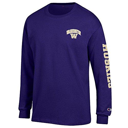 Washington Huskies Long Sleeve Tshirt Letterman Purple - M
