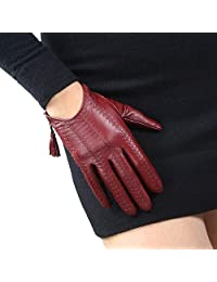 DooWay Women Short Real Leather Gloves Imported Goatskin Lather Touchscreen Texting Driving Tassel Zipper Finger Gloves