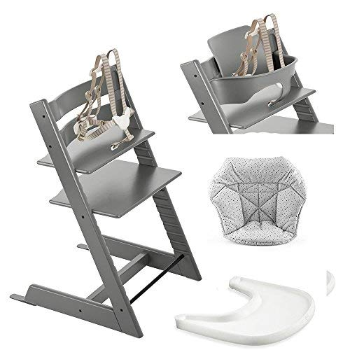 (Stokke Tripp Trapp High Chair, Baby Set - Storm Grey, White Tray & Mini Baby Cushion - Cloud Sprinkle)