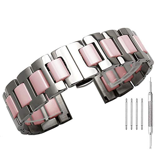 22mm Pink Ceramic Stainless Steel Watch Band Removable Links Wrist Bands Watch Strap Bracelet with Butterfly Buckle ()