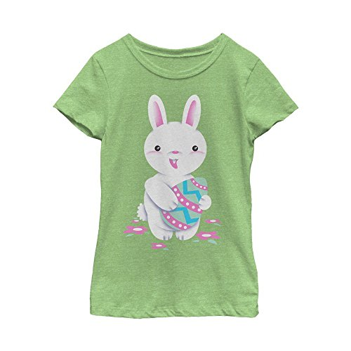 Fifth Sun Girls' Big Bunny Fun Adorable Easter Tee, Green Apple, M (Big Los Angeles Egg Green)
