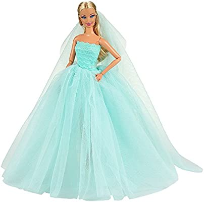 087e93f369505e BARWA Light Blue Wedding Dress with Veil Evening Party Princess Light Blue  Gown Dress for 11.5 inch Girl Doll