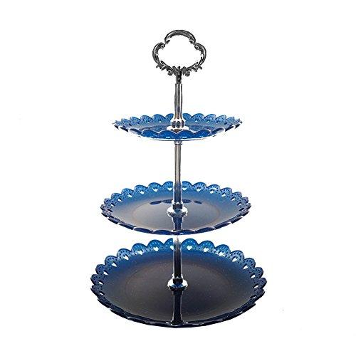 Artliving 3-tier Plastic Cake Stand-Dessert Stand-Cupcake Stand-Tea Party Serving Platter Blue Silver