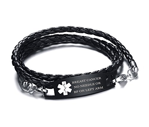 XUANPAI NO Needle OR BP ON Left ARM Multilayer Braided Leather Bangle Medical Alert ID Bracelet