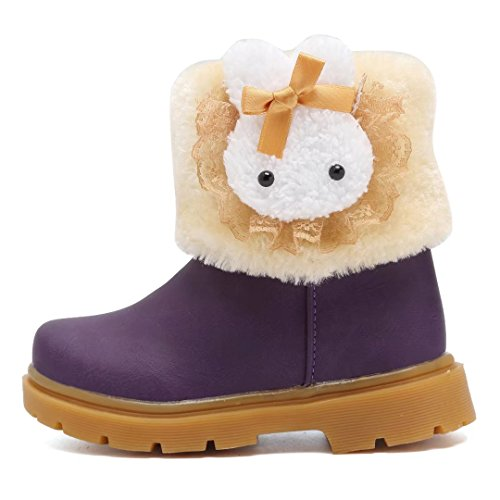 CIOR Snow Boots Baby Girls Infant Toddler Winter Fur Rabbit Shoes(Toddler/Little Kids) TX-TZ,purple23