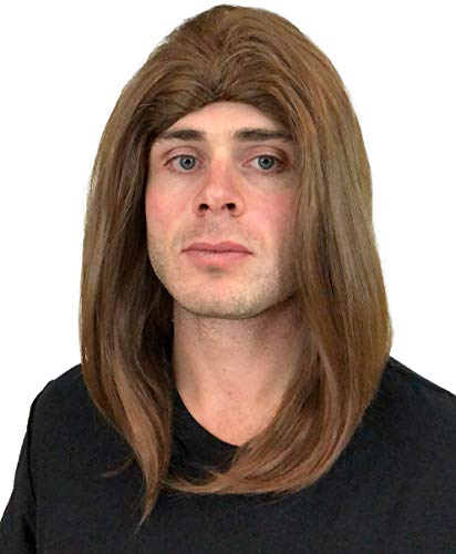 Rocker Wig for Men (Brown): Classic Rockstar Wig 90s 80s 70s Rocker Wig Men 1970s Men's Rocker Wigs Costumes Theme Party Mens Rockstar Wig Halloween Rockstar Wigs Men Wigs Rockstar Costume Wig ()