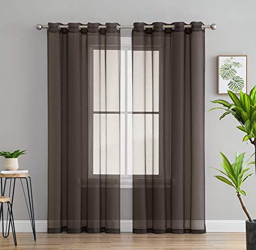 (HLC.ME 2 Piece Semi Sheer Voile Window Drapery Curtain Grommet Panels for Bedroom & Living Room (54