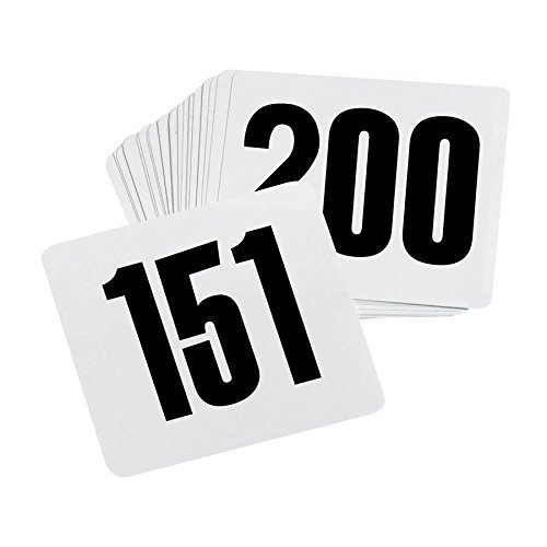 ROY TN 151 200 -Royal Industries Number 151-200 Plastic Number Card Set, Plastic, 4'' by 4'', White Base with Black Numbers by Royal Industries