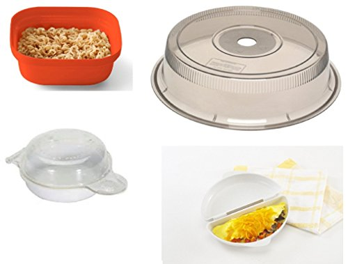 Microwave Cooking Set Includes Deluxe 11 Inch Microwave Plate Cover, 1-minute Ramen Noodle Cooker, 1-omelet Pan, Free with Purchase 1 Egg Muffin Pan