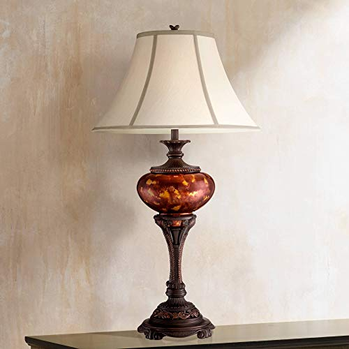 Florentine Urn - Liam Traditional Table Lamp Florentine Bronze Metal Urn Tortoise Shell Glass Bell Shade for Living Room Family Bedroom - Barnes and Ivy