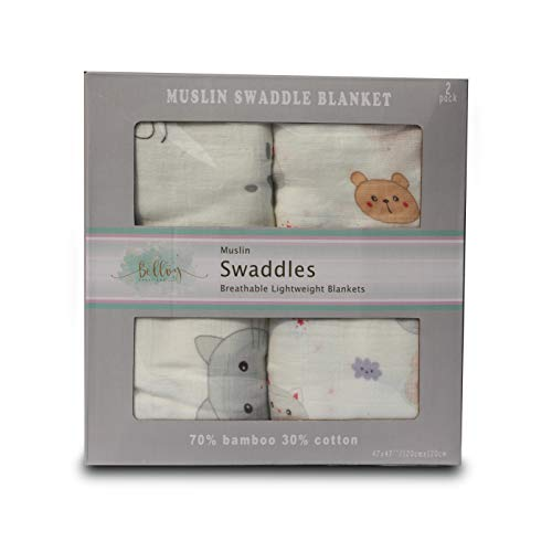 Baby Swaddle Blankets | 2-Pack Organic Bamboo Muslin Cotton Swaddle Wrap | Receiving Blanket for Newborns | 70/30 Bamboo Cotton Blend | Baby Shower Gift | Large by Bellvy Creations