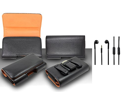 For Nokia Lumia 830 (AT&T) - Premium Classic Black Pebble Texture Horizontal Leather Belt Case Clip Holster Pouch (Fit for With Slim Case Together) + 3.5MM Stereo Earphones (Nokia Lumia 830 Otterbox)
