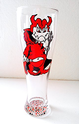 [Halloween Devil Hand Painted Beer Glass] (666 Halloween Costume)