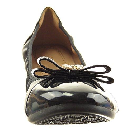 Sopily - Scarpe da Moda ballerina flessibile alla caviglia donna nodo gioielli strass Tacco a blocco 1 CM - Nero