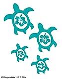 UR Impressions Teal Hibiscus Sea Turtle Family of