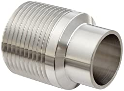 Dixon B19WB-G100 Stainless Steel 304 Sanitary Fitting, Unpolished Weld Adapter, 1\