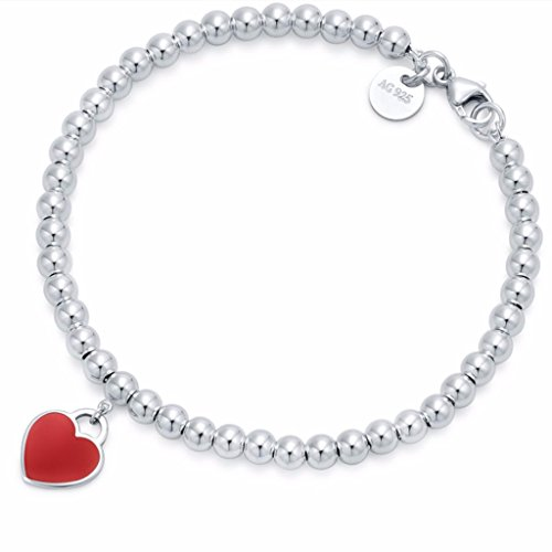 T&CSHOP Return to Heart Bead Bracelet in Silver with Red Enamel - Return To Tiffany
