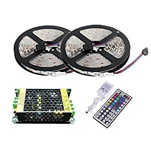 Ledtcx Waterproof 10M 300X3528 SMD RGB LED Strip Light and 44Key Remote Controller and 5A Power Supply (AC110-240V)