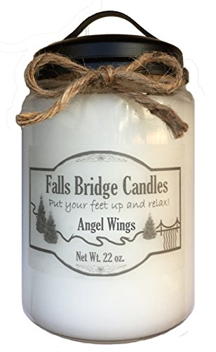 Candle Wing Angel (Falls Bridge Candles Angel Wings, 22 oz. Scented Jar Candle, Soy Blend)