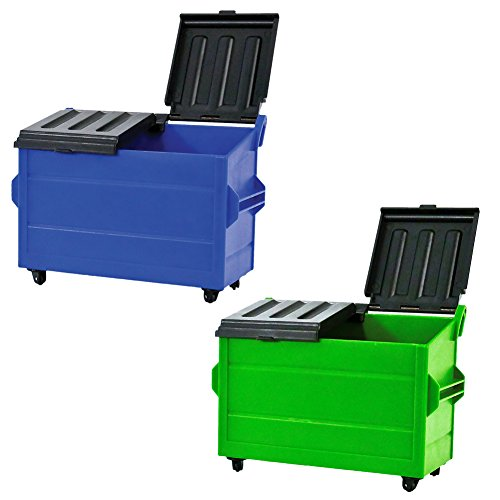 Set of 2 Plastic Toy Dumpsters for Action Figures, Dioramas, Models