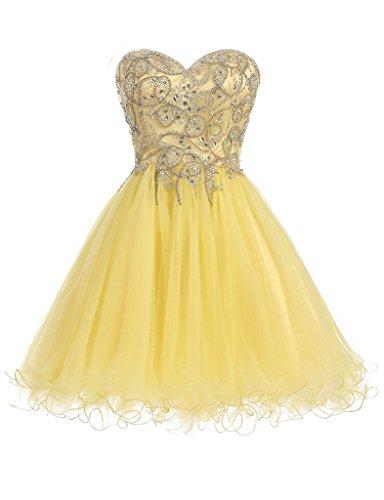 HarveyBridal Luxury Hand Beading Crystal Tulle Homecoming Dresses Short Yellow US08