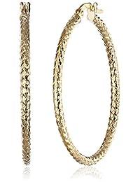 14k Yellow Gold Italian Sparkle Diamond-Cut Hoop Earrings